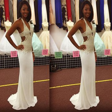 Long African White Sheath V-Neck Sleeveless Zipper Beading Prom Dresses 2019 Open Back Sexy For Short Girls
