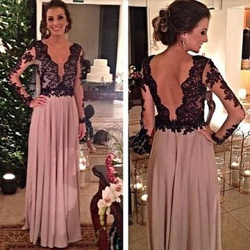 Pink A-line V-Neck Long Sleeves Zipper Prom Dresses 2019 Chiffon Lace