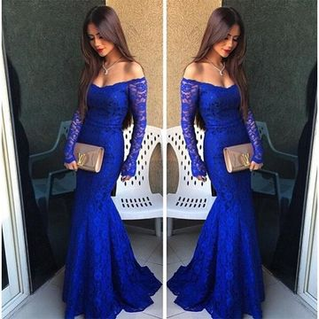 Modest Blue Mermaid Long Sleeves Zipper Prom Dresses 2019 Lace For Short Girls