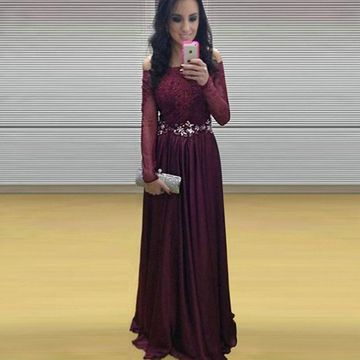 Burgundy A-line Long Sleeves Zipper Beading Prom Dresses 2019 Chiffon