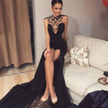 Long Black Sheath Sleeveless Zipper Appliques Prom Dresses 2019 For Short Girls