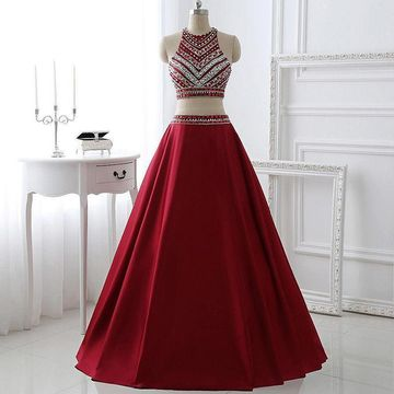Long Junior Burgundy Ball Gown Sleeveless Zipper Beading Prom Dresses 2020 Two Piece