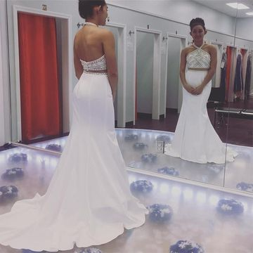 Long Elegant White Mermaid Halter Sleeveless Crystal Detailing Prom Dresses 2019 Sexy For Short Girls Two Piece