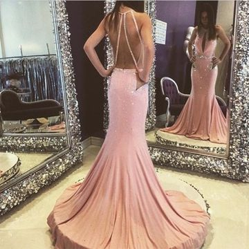Long Pink Mermaid Sleeveless Zipper Crystal Detailing Prom Dresses 2019