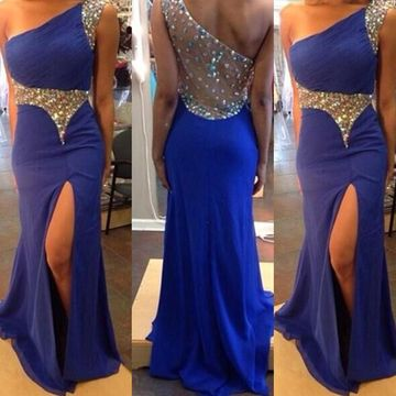 Long Sheath One Shoulder Sleeveless Crystal Detailing Prom Dresses 2019