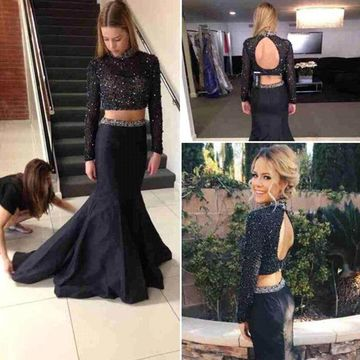 ee966a30ceac 49%OFF Long Junior Black Mermaid High Neck Sleeveless Backless ...