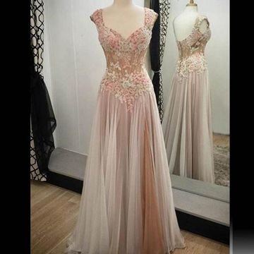 Junior Beige/Champagne A-line Straps Sleeveless Zipper Appliques Prom Dresses 2020