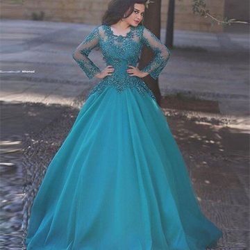 Modest Blue Ball Gown Long Sleeves Zipper Appliques Prom Dresses 2019
