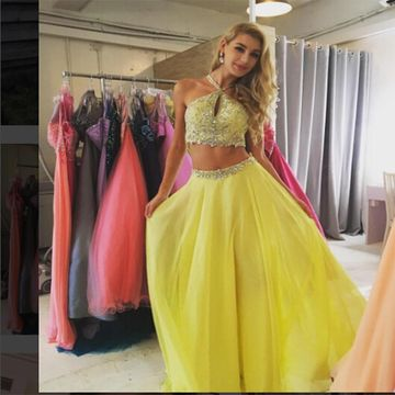 Long Junior Yellow A-line Sleeveless Zipper Beading Prom Dresses 2019 Chiffon Sexy For Short Girls Two Piece