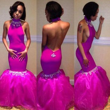 Long Junior Mermaid Halter Zipper Beading Prom Dresses 2019 Open Back Sexy For Short Girls