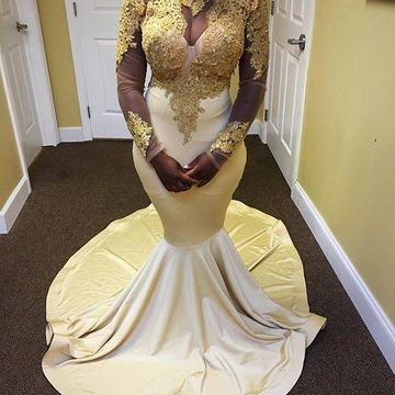 Sexy Gold Mermaid High Neck Long Sleeves Zipper Appliques Prom Dresses 2019