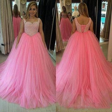Long Pink A-line Straps Sleeveless Pearl Detailing Prom Dresses Ball Gowns 2019