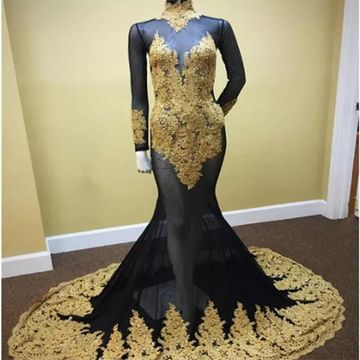 Sexy Black and Gold Mermaid High Neck Long Sleeves Zipper Appliques Prom Dresses 2019
