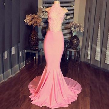 Long Junior Pink Mermaid High Neck Sleeveless Zipper Appliques Prom Dresses 2019 Sexy For Short Girls