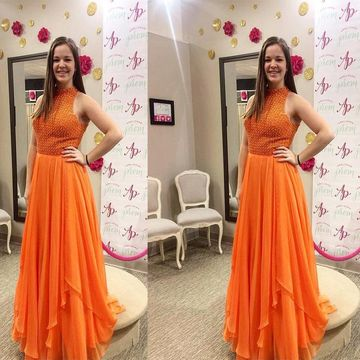 Long Junior Orange Sheath Sleeveless Zipper Beading Prom Dresses 2019 Chiffon Sexy For Short Girls