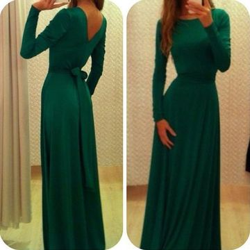 Cheap Modest A-line Long Sleeves Zipper Bow(s) Prom Dresses 2019 Green