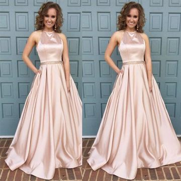 Cheap Long Elegant A-line Halter Sleeveless Zipper Crystal Detailing Prom Dresses 2019 Sexy For Short Girls