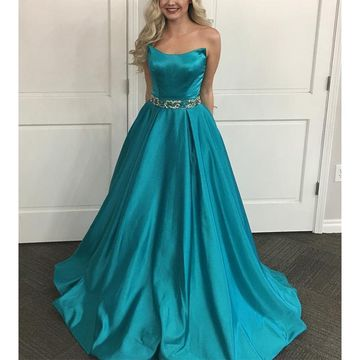 Cheap Long Junior Blue A-line Sash/Ribbon Prom Dresses 2020 Strapless Sleeveless Sexy For Short Girls