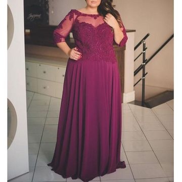 Cheap Long Plus Size Burgundy A-line Prom Dresses 2019 Sheath Chiffon
