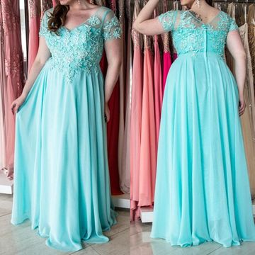 Cheap Long Plus Size Blue A-line Prom Dresses 2019 V-Neck Chiffon