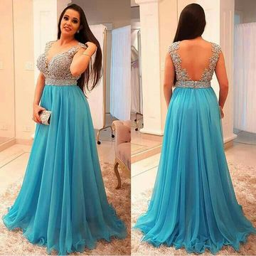 Cheap Long Plus Size Blue A-line Prom Dresses 2019 Sleeveless Chiffon
