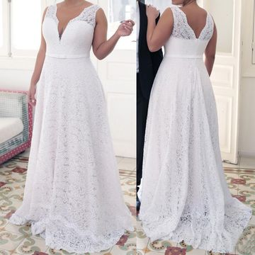 Cheap Long Plus Size Sexy White A-line Sash/Ribbon Prom Dresses 2019 V-Neck Sleeveless Lace