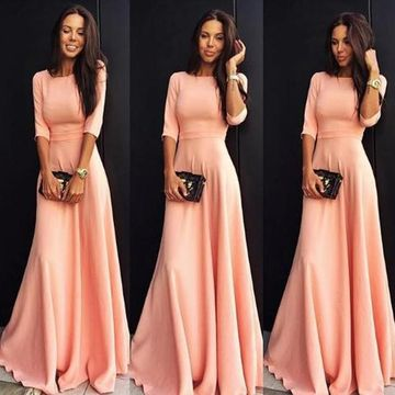 Coral Half Sleeves A-line Modest Prom Dresses 2019