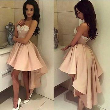 Short High-Low Homecoming Prom Dresses 2019 A-line Sleeveless Cute For Short Girls