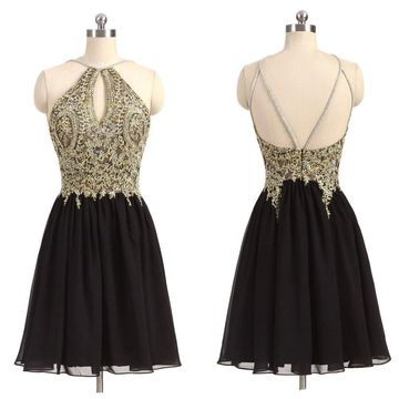 Short Homecoming Prom Dresses 2020 A-line Sleeveless Chiffon Sexy For Short Girls