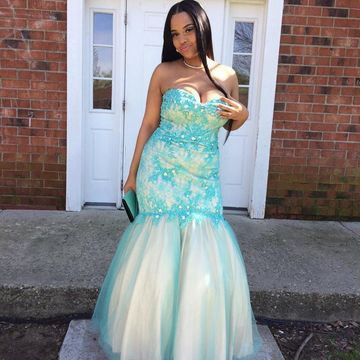 Blue Lace Appliques Sweetheart Mermaid Tulle Plus Size Prom Dresses 2019 African
