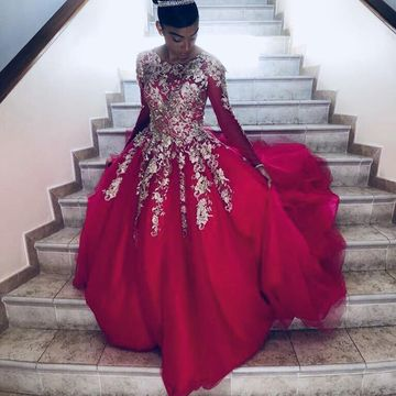 Long Sleeves Appliques Ball Gown Prom Dresses 2019 African