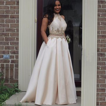 Long Round Neck Appliques Two Piece Prom Dresses 2020 Sleeveless African