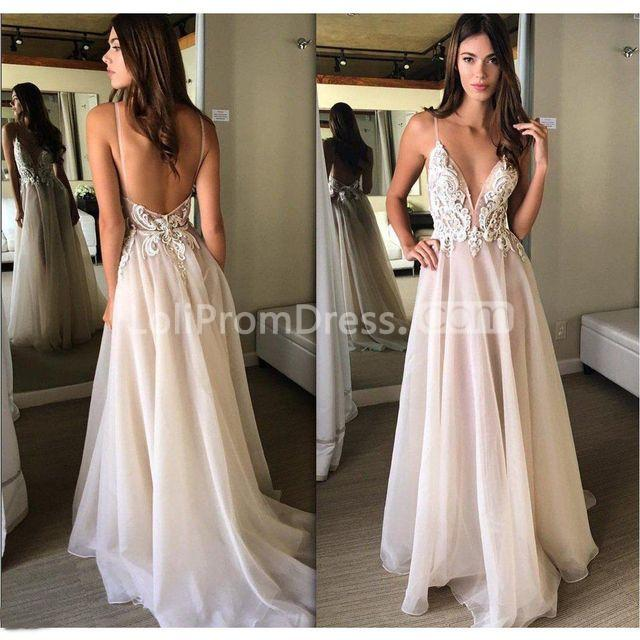 Jieruize White Simple Backless Wedding Dresses 2019 Ball: 49%OFF Pink V-neck Prom Dresses 2019 A-line Sleeveless