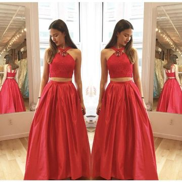 f98d4e6999c1 49%OFF Red Halter Two Piece Prom Dresses 2019 Sleeveless ...