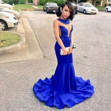 Blue Illusion Appliques Mermaid Prom Dresses 2019 Sleeveless African For Short Girls