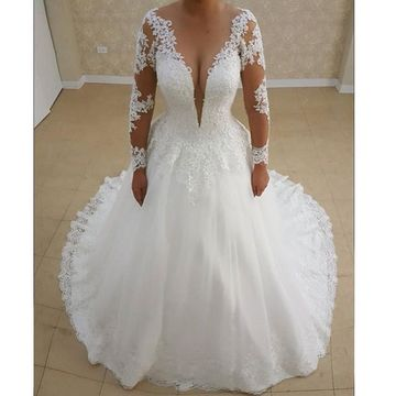 Long Wedding Dresses 2019 A-line Long Sleeves