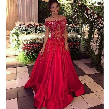 Red Long Prom Dresses 2019 A-line