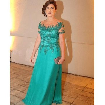 Green Long Mother of Bride Dresses 2020 A-line