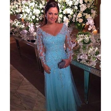 Blue Long Mother of Bride Dresses 2020 V-Neck Long Sleeves
