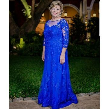 Blue Mother of Bride Pants Suits 2020 A-line Lace