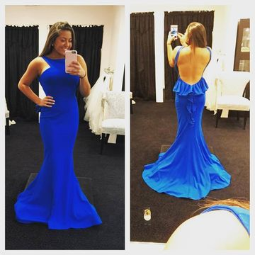 Royal Blue Long Prom Dresses 2020 Mermaid Sleeveless