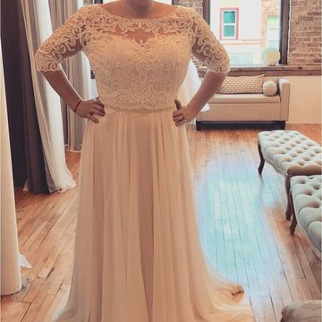 Wedding Dresses 2019 A-line Chiffon Lace Plus Size