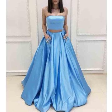 Long Prom Dresses 2019 A-line Strapless Sleeveless Two Piece