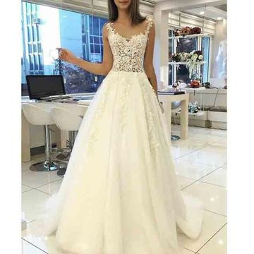 Long Wedding Dresses 2019 A-line Sleeveless