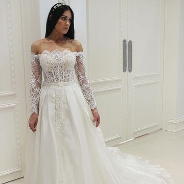 Long Wedding Dresses 2019 A-line Long Sleeves Lace