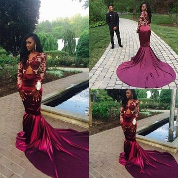 Burgundy Long Prom Dresses 2019 Mermaid V-Neck Long Sleeves