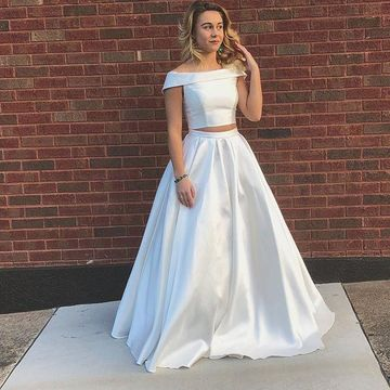 White Long Prom Dresses 2019 A-line Two Piece