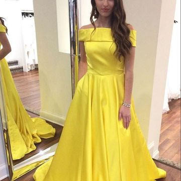 Yellow Long Prom Dresses 2019 A-line