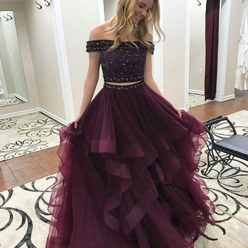 Burgundy Long Prom Dresses 2019 A-line Two Piece For Short Girls