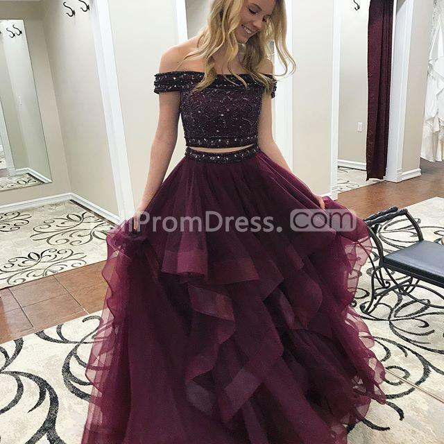 49 Off Burgundy Long Prom Dresses 2019 A Line Two Piece